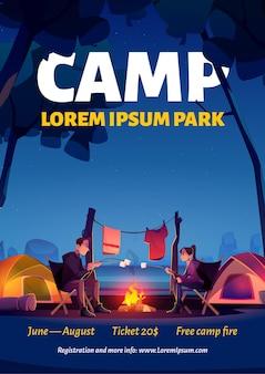 Cartel de campamento de verano en el parque natural.