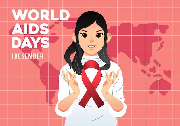 Cartel de la campaña del día mundial del sida, mujeres jóvenes con el logo del sida en su mano y mapa del mundo en la ilustración de fondo