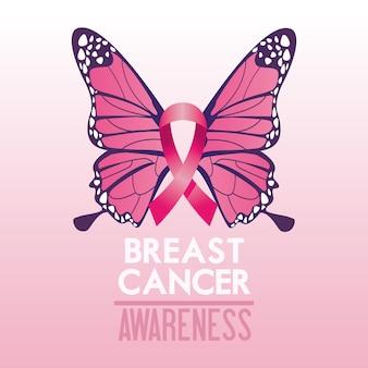 Cartel de la campaña del mes de concientización sobre el cáncer de mama con cinta rosa y mariposa