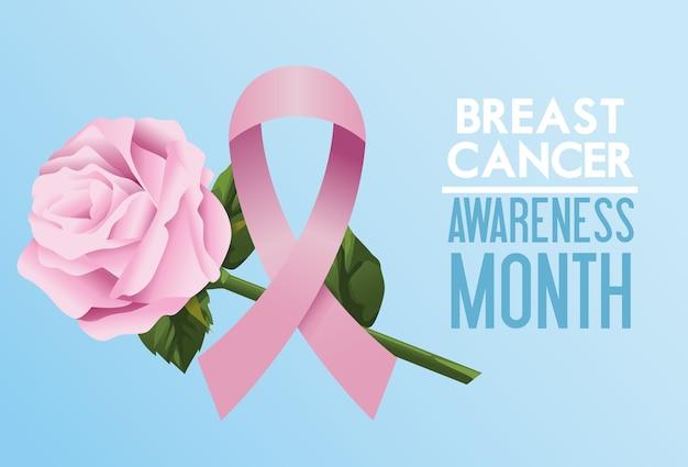 Cartel de la campaña del mes de concientización sobre el cáncer de mama con cinta rosa y rosa