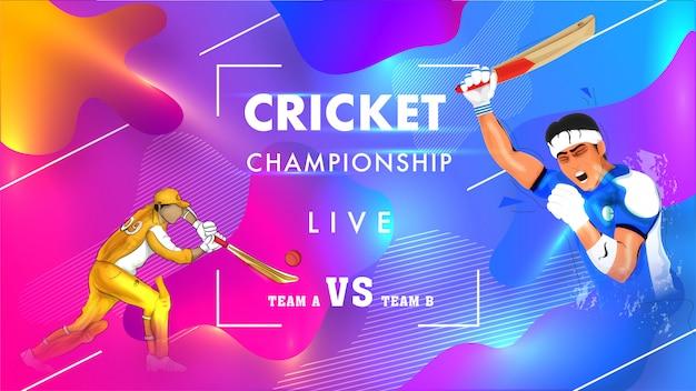 Cartel del campeonato de cricket en vivo.
