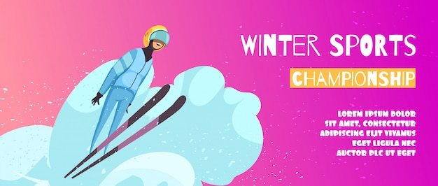 Cartel de campeonato de deportes extremos de invierno con símbolos de salto planos