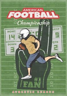 Cartel del campeonato de fútbol americano con marcador de mano de espuma de jugador corriendo en campo desgastado verde