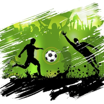 Cartel del campeonato de fútbol con siluetas de jugadores de fútbol, balón de fútbol y ventiladores de siluetas, fondo grunge, ilustración vectorial