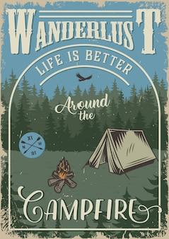 Cartel de camping vintage