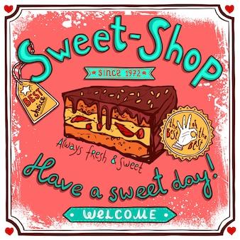 Cartel de caramelo vintage sweetshop