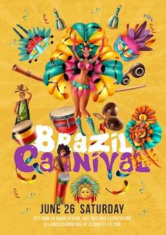 Cartel de carnaval de brasil con ilustración de bailarines, músicos y máscaras