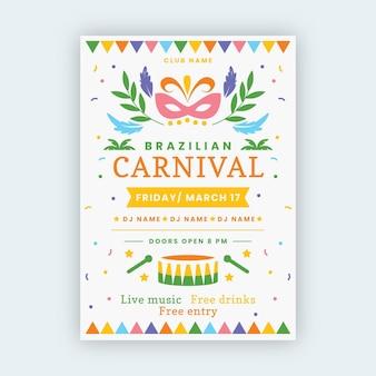Cartel de carnaval brasileño dibujado a mano