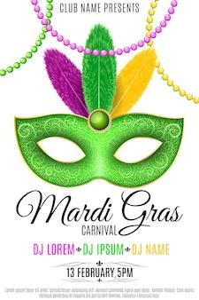 Cartel para el carnaval de mardi gras sobre un fondo blanco. lujosa máscara con plumas de colores.