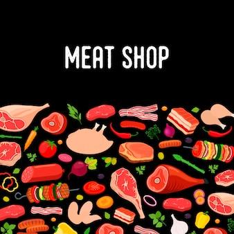Cartel de carne, pancarta con productos agrícolas, estilo de dibujos animados