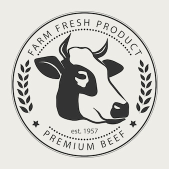 Cartel de carnicería con silueta de vaca, etiqueta de carne premium, insignia tipográfica y elemento de diseño