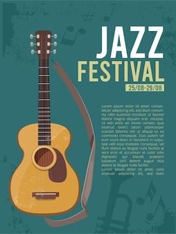 Cartel del cartel del festival de música para la imagen de la guitarra del concierto de rock en vivo con lugar para el texto musicalmente concepto.