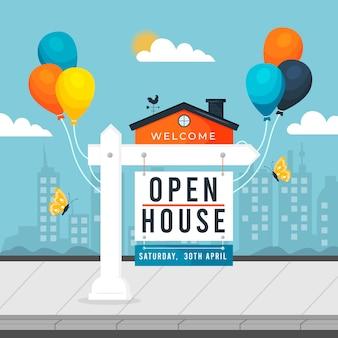 Cartel de casa abierta con globos