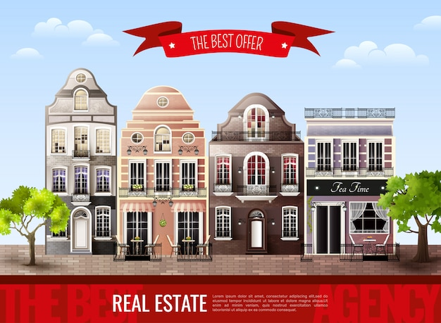 Cartel de casas antiguas europeas
