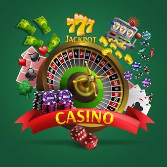 Cartel de casino en fondo verde