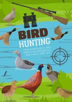 Cartel de caza de aves acuáticas y de secano.