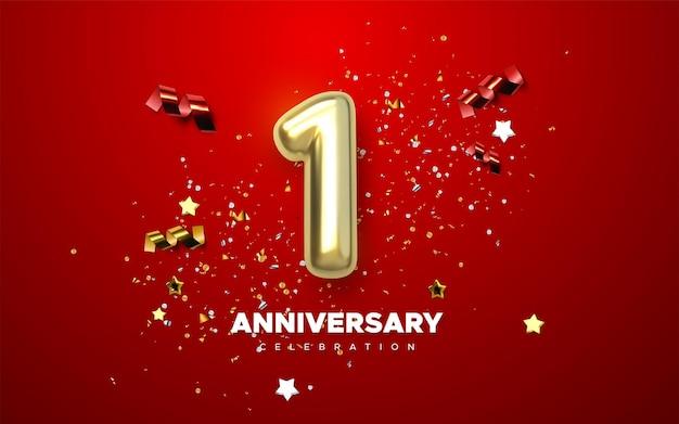 Cartel de celebración del 1 ° aniversario con el número 1 de oro y confeti brillante