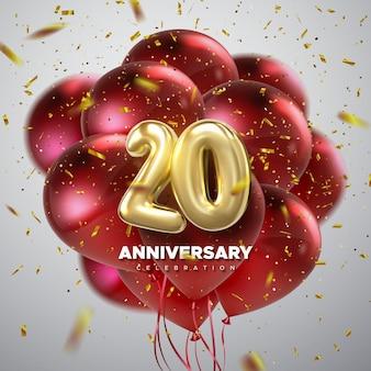 Cartel de celebración del 20 aniversario con números dorados y decoración de globos de fiesta