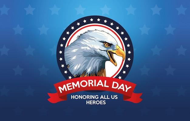 Cartel de celebración del día de los caídos con águila