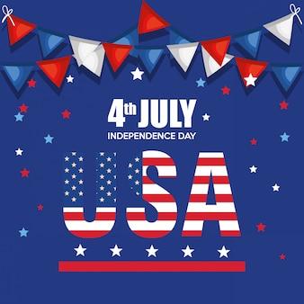 Cartel de celebración del día de la independencia de estados unidos