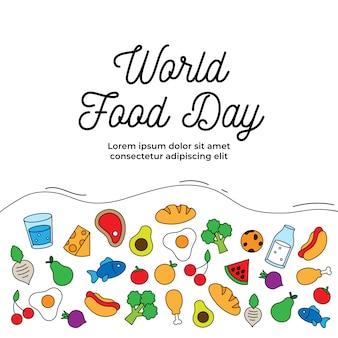 Cartel de celebración del día mundial de la alimentación. varios tipos de comida bebida simple icono.