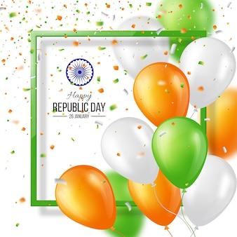 Cartel de celebración de día de la república de india feliz o fondo de banner, tarjeta. globos de tres colores con confeti. ilustración vectorial.