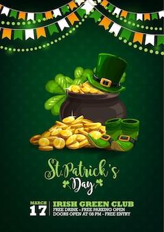 Cartel de celebración del día de san patricio con ilustración de monedas, sombreros, zapatos y guirnalda