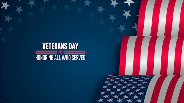 Cartel de celebración con estrellas y rayas. feliz día de los veteranos