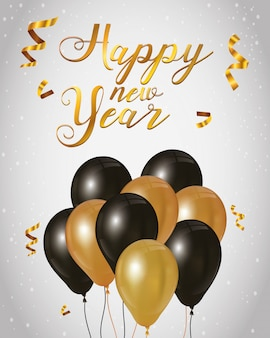 Cartel de celebración de feliz año nuevo 2021 con globos de helio