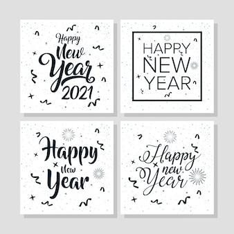 Cartel de celebración de feliz año nuevo 2021 con marcos cuadrados
