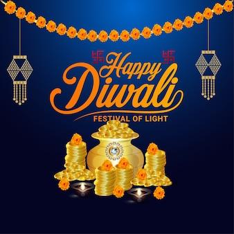 Cartel de celebración feliz diwali o diseño de tarjeta de felicitación