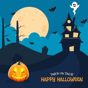 Cartel de celebración de feliz halloween con casa encantada, fantasma de dibujos animados, murciélagos voladores y jack-o-lantern sobre fondo azul luna llena.