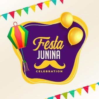 Cartel de celebración de festa junina con lámparas y globo