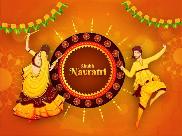 Cartel de celebración del festival shubh navratri