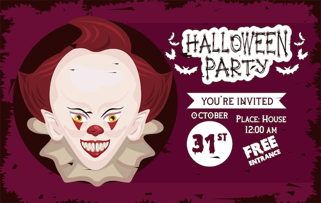 Cartel de celebración de fiesta de terror de halloween con diseño de ilustración de payaso malvado