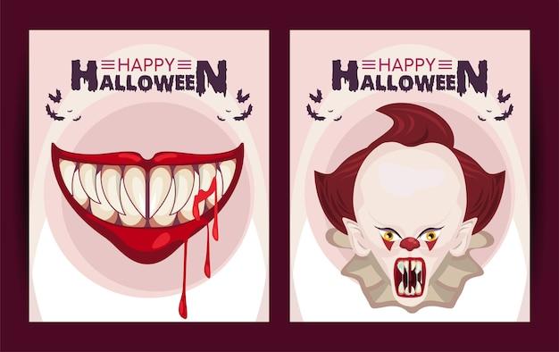 Cartel de celebración de horror de halloween feliz con diseño de ilustración de payaso y boca