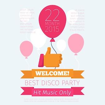 Cartel de celebración o fiesta con pulgares arriba y globo.