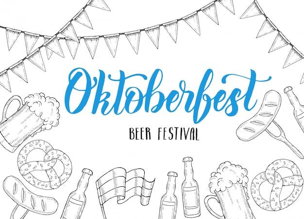 Cartel de celebración de oktoberfest con vaso de cerveza de doodle dibujado a mano