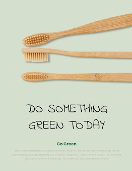 Cartel de cepillos de dientes de bambú producto biodegradable natural.