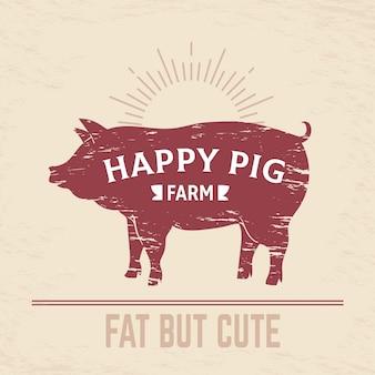 Cartel de cerdo carnicero. logotipo vintage de cerdo a la barbacoa, emblema de carnicero vintage de animales de granja, menú de carne. diagrama de carnicero de tocino