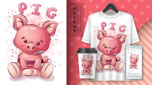 Cartel de cerdo rosa y merchandising.