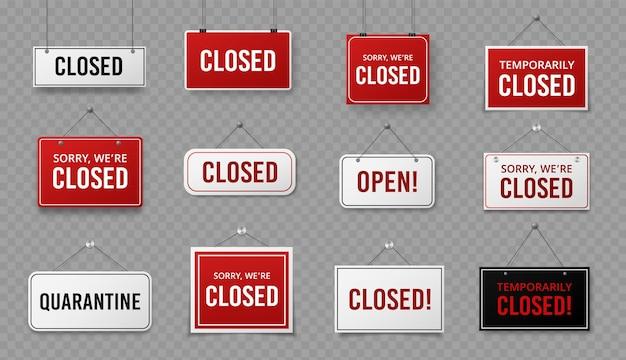 Cartel cerrado. letrero de información con cuerda para señales de cuarentena de negocios, cafeterías o restaurantes