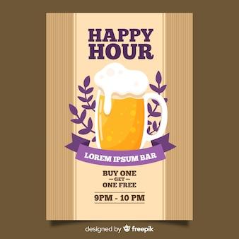 Cartel de cerveza happy hour con diseño plano