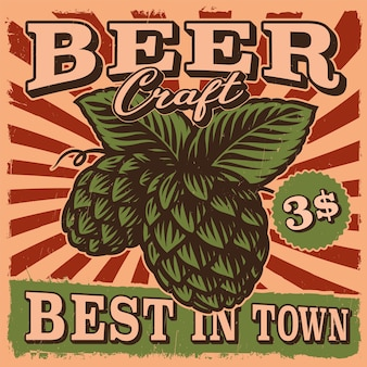 Cartel de cerveza vintage con una ilustración de lúpulo de cerveza