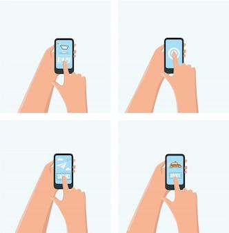 Cartel de chat de mensajería instantánea móvil moderno con ilustración de manos y teléfonos inteligentes