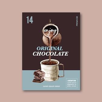 Cartel de chocolate con bebida de chocolate frappé, ilustración acuarela