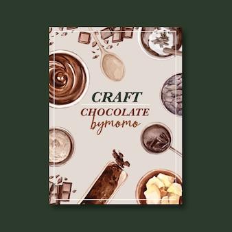 Cartel de chocolate con ingredientes haciendo barra de chocolate roto, ilustración acuarela