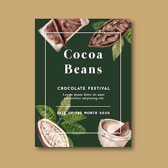 Cartel de chocolate con ingredientes rama cacao, ilustración acuarela