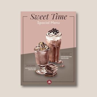Cartel de chocolate con trocitos de chocolate, bebida frappe, ilustración acuarela