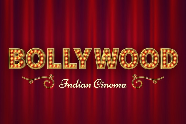 Cartel de cine de bollywood. película clásica india vintage con cortinas rojas
